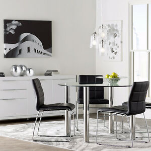 BRAND NEW!! CONTEMPORARY, ROUND GLASS &CHROME PLATED 5 Pc DINING