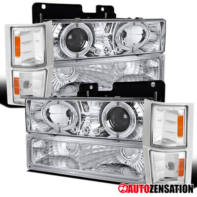 Fit 94-98 Chevy C10 C/K 1500 Clear Halo Projector Headlights+Bumper+Corner Lamps