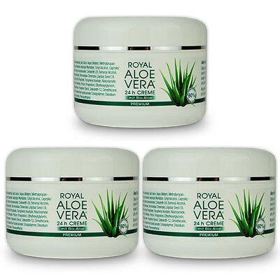 3 x Royal Aloe Vera 24h Gesichtscreme Tages Nacht Creme mit 60% Bio Aloe Vera