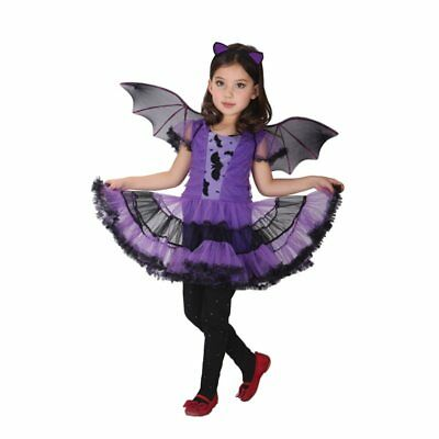 Kids Halloween Purple Vampire Costume Bat Girl Dress Fancy Cosplay for Girls