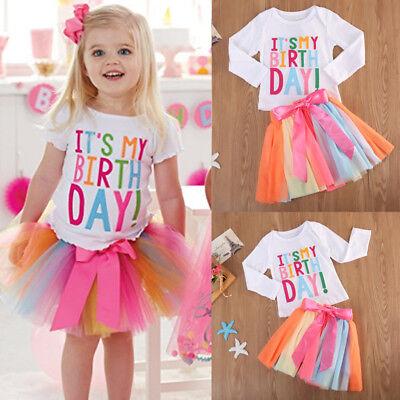 USA Baby Girl Kid Toddler T-shirt+tutu Skirt Dress Outfit Sets Birthday Clothes](Birthday Tutu)