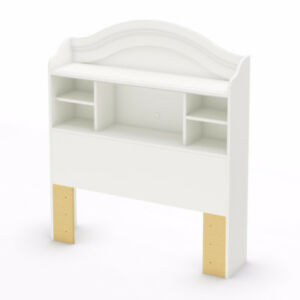 Twin platform base and bookshelf headboard