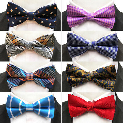 New Mens Bow Ties Silk Tie Solid Checks Flowers Woven Adjustable Tie Neck Wear  ()