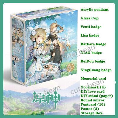 Genshin Impact Lucky Gift Bag Collection Bag Cup Badge Postcard Poster Bookmark