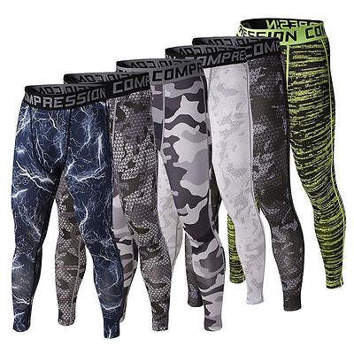 Men Sports Apparel Skin Tights Compression Base Under Layer Workout Long Pant US