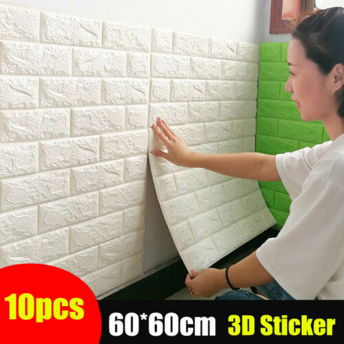 Home Decoration - 3D Tile Brick Wall Sticker Self-adhesive Waterproof Foam Panel Sticker 60*60cm