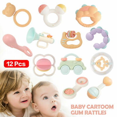 Baby Toys Rattles Set Infant Grasping Grab Toys Spin Shaking Bell Musical Toy US