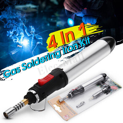 4in1 Gas Soldering Iron Set Butane Cordless Welding Ren Torch Tool Kit Ht-1934-3