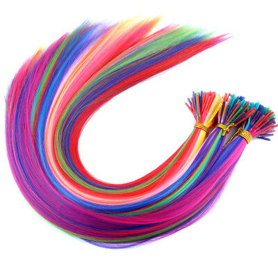 Used, 100Pcs Mixed 20'' Solid colors Synthetic Fiber I Tip Feather Hair Extension  for sale  Shipping to Canada