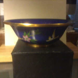 OLD CHINESE FLORAL BIRD CLOISONNE BLUE ENAMEL BOWL