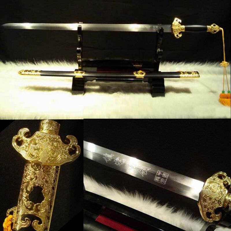 """TOP QUALITY CHINESE SWORD """"LONGQUAN JIAN""""(劍)CARBON STEEL BLADE ALLOY FITTINGS"""