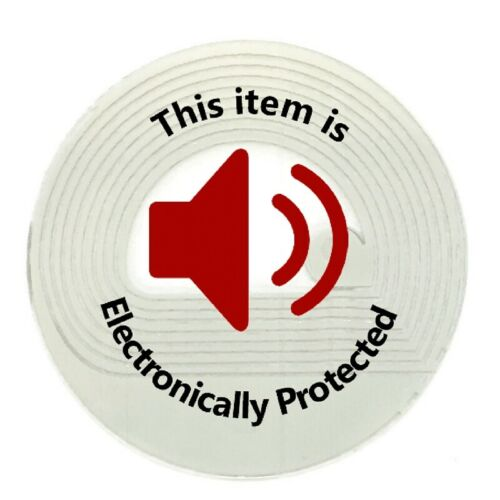 2,000 RF 8.2MHz Label Round Checkpoint® Compatible 28mm Size w/Red Warning Print
