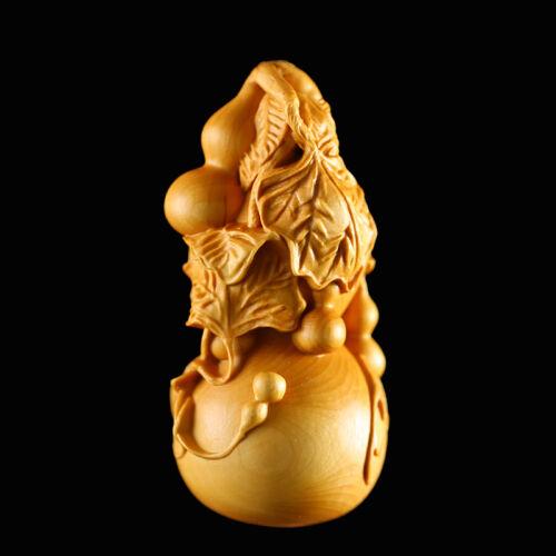 JP109 - 6X3X3 CM Carved Boxwood Carving Figurine Netsuke - Pretty Gourd
