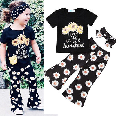 USA Kids Baby Girls Outfits Casual T-shirt Tops Long Pants Leggings Clothes Set