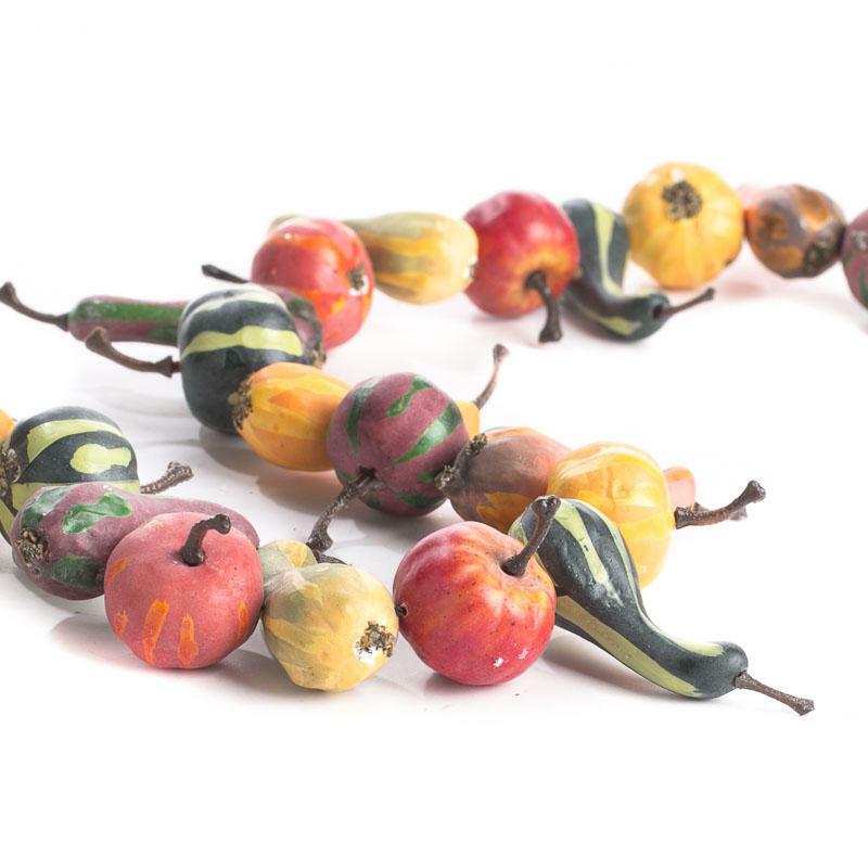 Over 5 Feet of Artificial Autumn Harvest Gourd and Pumpkin Garland