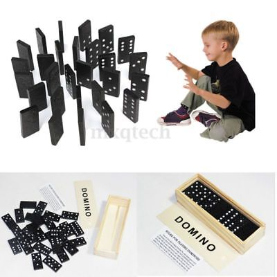 Popular 28 X Domino Game Play Set Fun Board Game Party Toy with Wooden Box Black