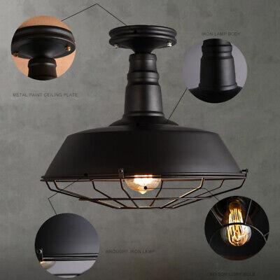 Industrial Wrought Iron Semi-Flush Mount Ceiling Light Ceiling Lighting in -