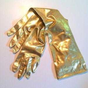 Halloween - Golden Glam Lamé Long Gloves