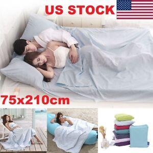 Single Silk Satin Outdoor Camping Liner Sleeping Bag Travel Hotel Bed Sheet US
