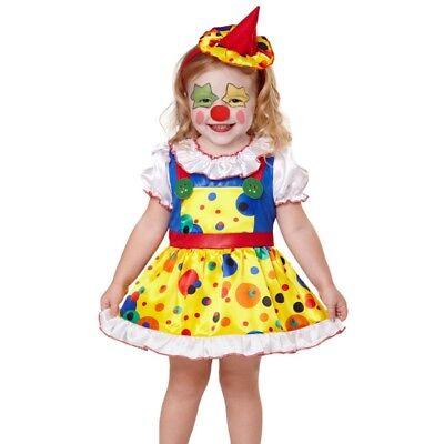 CLOWN Mädchen Kinder Kostüm Größe 116 Kleinkind Harlekin Kleid + Minihut   #7545