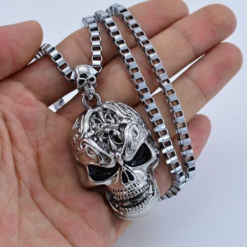 Jewellery - Punk Rock Metal Silver Skull Skeleton Chain Choker Necklace Pendant Jewelry UK