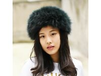 DAYMISFURRY-- Knitted Fox Fur Headband / Neck warmer In Blackish Green