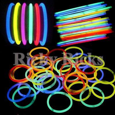 """300 8""""  Premium Glow Sticks Bracelets Necklaces Party Favors"""