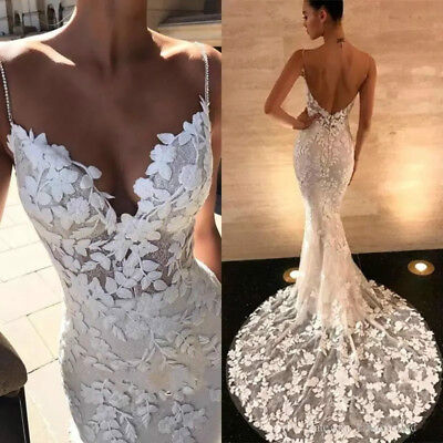 Lace Applique Mermaid Wedding Dresses Spaghetti Straps Backless Bridal Gowns