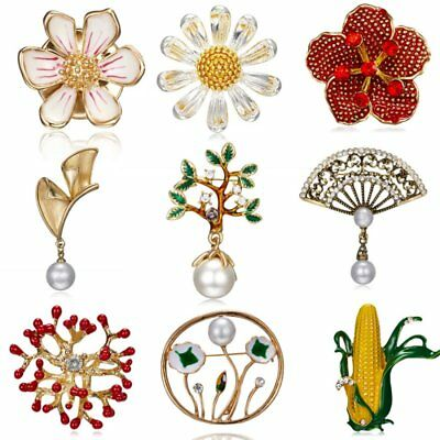 Pearl Crystal Flower Leaf Tree Deer Breastpin Collar Brooch Pin Women Jewelry
