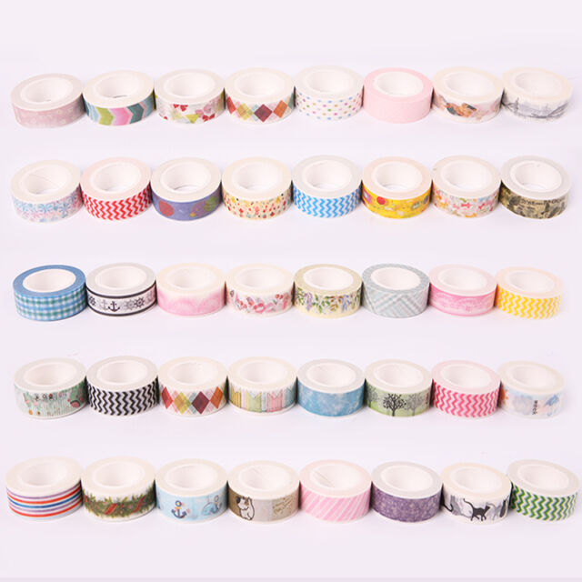 5PCS 1.5cm×10M DIY paper Sticky Adhesive Sticker Decorative Washi Tape Cute