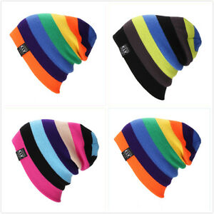 Men-Women-Wool-Knit-Knitted-Winter-Hat-Ski-Skull-Cap-Unisex-Rainbow-Hip-Hop-Hats