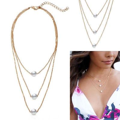 Women Retro Simple White Single Pearl Bead Three Layers Chain Necklace Pendants