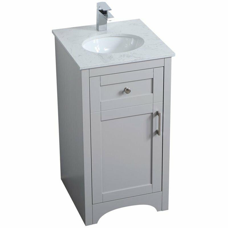 "Elegant Decor Moore 18"" Single Quartz Top Bathroom Vanity in Gray"