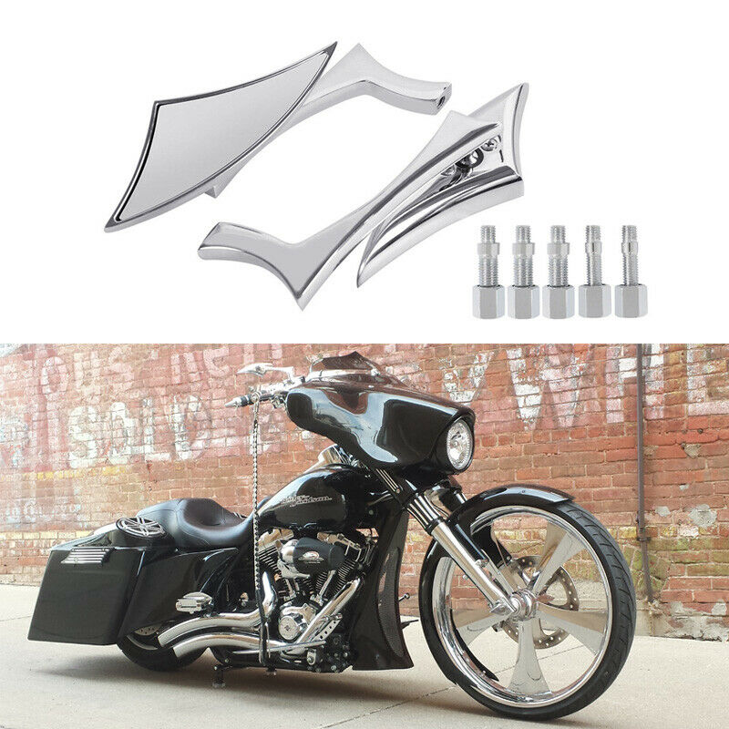 Details About Chrome Motorcycle Cruiser Mirrors Custom For Harley Davidson Street Glide Flhx