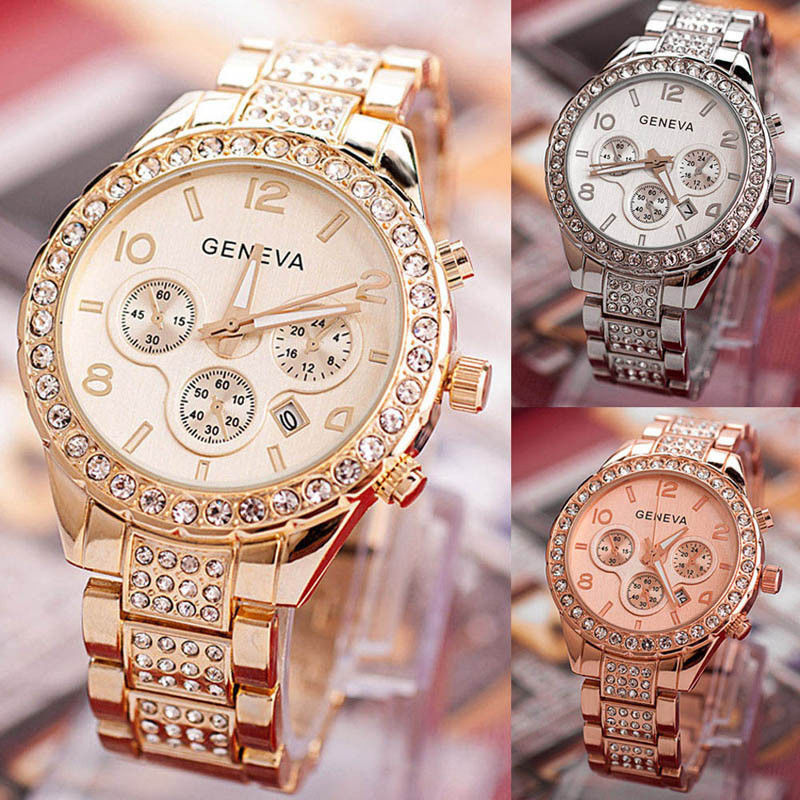 $5.50 - Luxury Geneva Women's Crystal Stainless Steel Quartz Analog Wrist Watch