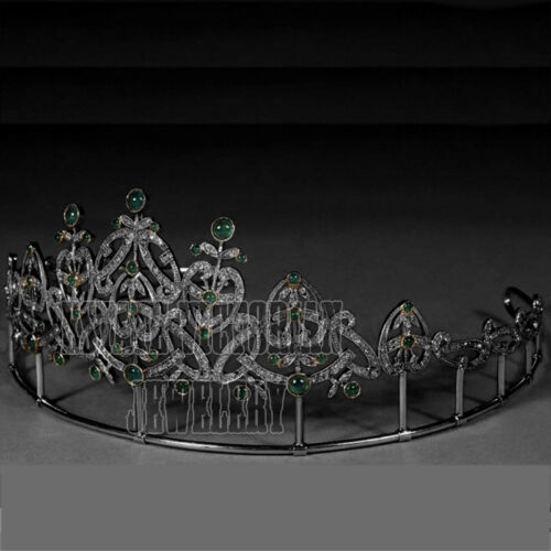 10.01Ct Pave Rose Cut Diamond Emerald Studded Silver Vintage Crown Tiara Jewelry