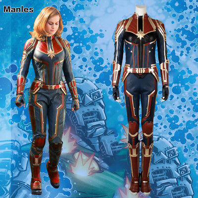 Ms Marvel Costume Captain Marvel Carol Danvers Cosplay Superhero Halloween Suits (Halloween Costumes Super Heros)