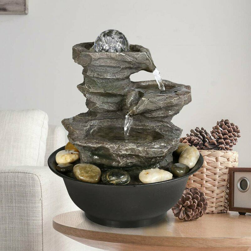 11.4 inch Relaxation Waterfall Feature LED Decorative Tabletop Water Fountain
