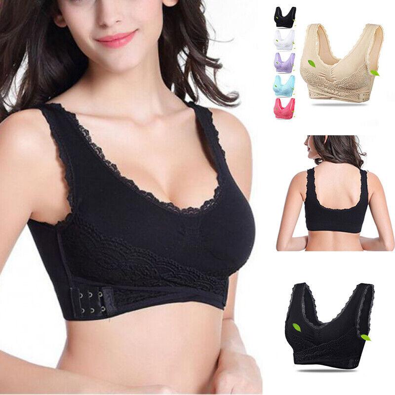 Women Adjustable Front Cross Side Buckle Lace Vest Wireless Yoga Sports Bra