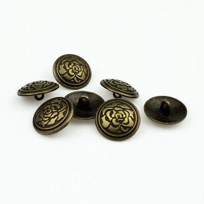 12pcs Silver Bronze Metal Flower Carved Round Shank Buttons Sewing Coat Button