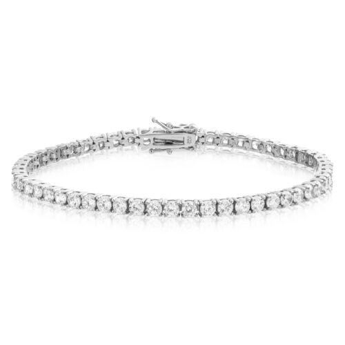 Sterling Silver CZ Tennis Bracelet AAA Round Brilliant 3mm Cubic Zirconia Gems