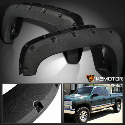 Rugged Textured 88-98 Chevy GMC C/K 1500 Pocket Rivet Style Fender Flares 4PC