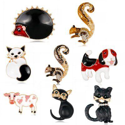 Women Rhinestone Breastpin Animals Cow Cat Dog Cat Brooch Pin Costume Jewelry