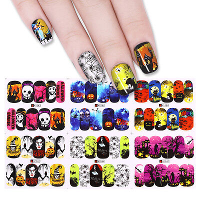 Nail Art Designs Halloween (12 Patterns Nail Art Water Decals Halloween Spider Skull Pumpkin Stickers)