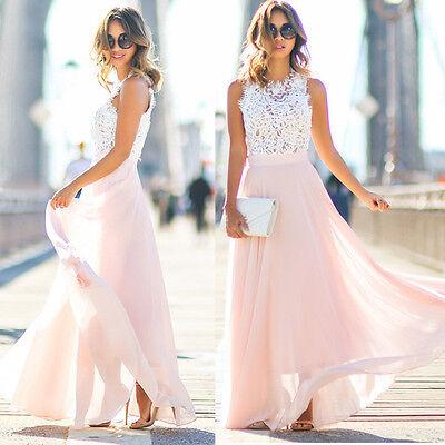 Damen Spitze Maxikleid Lange Abendkleider Partykleid Hochzeit Armellos Ballkleid Ebay