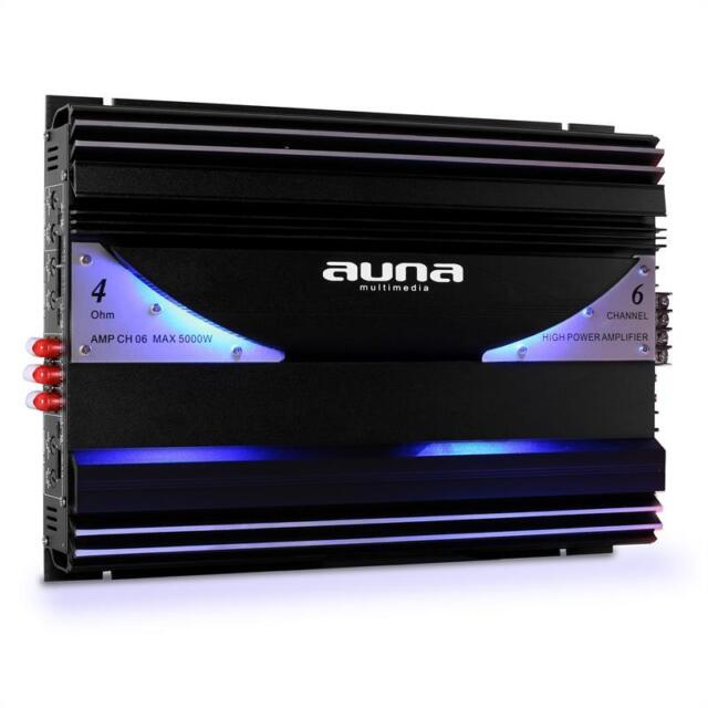 AUNA SLEEK DESIGN LED CAR AMPLIFIER 6 CHANNEL 5000W NEW *FREE P&P SPECIAL OFFER