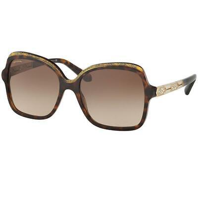 Bvlgari Sunglasses Serpenti Havana Glitter Gold w/Brown Gradient Lens Women BV81