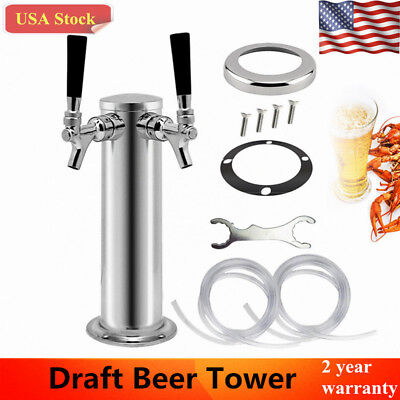 Double 2 Tap Stainless Steel Beer Tower Kegerator Dual Chrome Faucets Usa