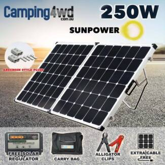 250W Folding Solar Panel Kit 12V + Regulator + Bag
