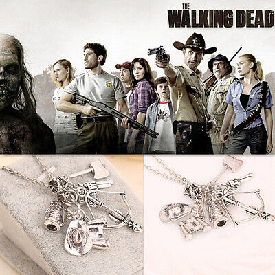 The walking dead inspired charm necklace with 6 charms